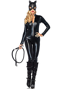 Dark Night Bat Shaped Catwoman Black PU Leather Women's Cosplay Costume