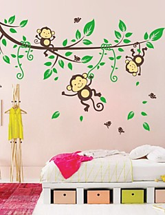 zooyoo® מדבקות קיר להסרה יפות עץ צבעוני ושני ינשופי עיצוב בית קיר מדבקה לחדר ילדים