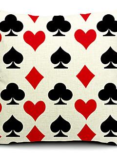 cartes à jouer les coeurs rouges et diamants coton / lin taie d'oreiller décoratif