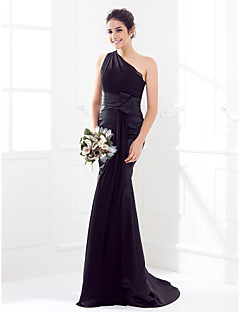 Lanting Bride® Sweep / Brush Train Satin / Georgette Bridesmaid Dress Trumpet / Mermaid One Shoulder Plus Size / Petite withSash / Ribbon