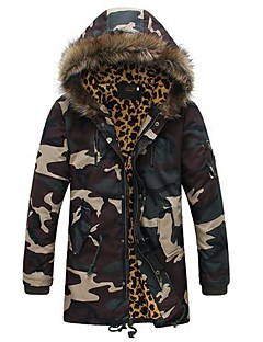Men's Fur Collar Self-Cultivation Camouflage Coat