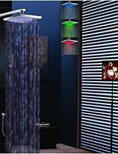 Contemporain Montage mural LED Thermostatique Douche pluie Douchette inclue with  Valve en laiton Deux poignées quatre trous for  Chrome,
