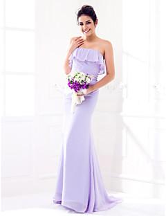 Lanting Bride® Süpürge / Fırça Kuyruk Jorget Nedime Elbisesi Sütun Straplez Yaka Büyük Beden / Minyon ile Fırfırlar / Yan Drape