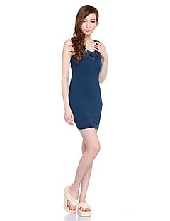 Women's Club Dress,Solid Above Knee Sleeveless Blue Polyester Summer