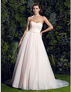Lan Ting A-line Wedding Dress - Pearl Pink Court Train Sweetheart Tulle