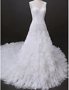 Lanting Bride® Fit & Flare Wedding Dress Cathedral Train V-neck Tulle with Appliques