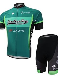 xaoyo poliéster respirável manga curta ciclismo dos homens de terno verde + preto