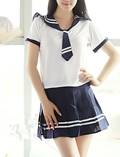 Cute Navy Style White And Blue School Uniform(4 Pieces)