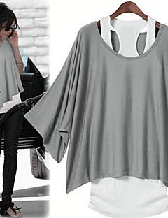 Damen Bluse Baumwolle / Andere ½ Länge Ärmel Geschlitzter Ausschnitt