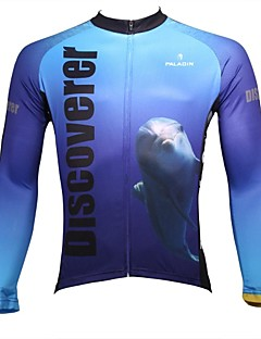 PaladinSport Men's  Summer and Autumn Style 100% Polyester Sharks Dolphins Blue Long Sleeved Cycling Jersey