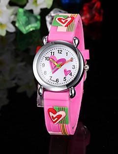 Kinderen Modieus horloge Kwarts Silicone Band Heart Shape Roze Roze
