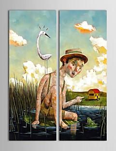 2 gerilmiş çerçeve seti ile nehirde nilüfer yaprağı oturan el boyalı yağlıboya kişi erkek