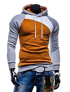 Men's Casual/Daily Simple Hoodie Color Block Patchwork Cotton Long Sleeve Fall