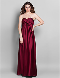 Lanting Floor-length Stretch Satin Bridesmaid Dress - Burgundy Plus Sizes / Petite Sheath/Column Sweetheart