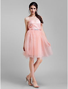 Lanting Bride® Knee-length Tulle Convertible Dress Bridesmaid Dress - A-line Plus Size / Petite withBeading / Sash / Ribbon / Side