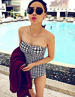 Women's Halter One-piece Geometric Spandex Houndstooth
