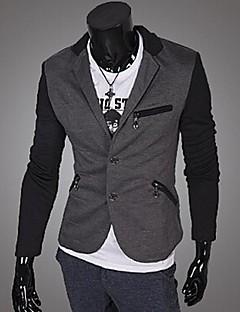 男性用 カラーブロック カジュアル / オフィス ブレザー,長袖 その他 ブラック / ホワイト / グレー