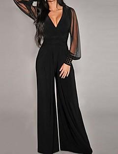 Women's Black Embellished Cuffs Long Mesh Sleeves Jumpsuit
