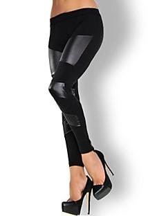 kvinnors läder sömmar nionde leggings