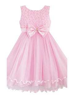 Girl's Solid Pink Roses Flower Sleeveless Knee-length Princess Dress With Bow,Organic Cotton / Organza Summer / Spring / Fall