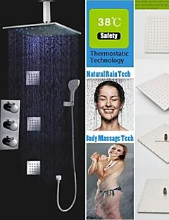 עכשווי מותקן על הקיר LED / תרמוסטטי / מקלחת גשם / spary Wide / שפורפרת יד כלולה with  שסתום פליז שלוש ידיות תשעה חורים for  כרום , ברז