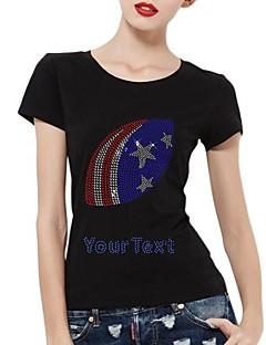 strass personalizadas camisetas nós mangas curtas padrão de futebol de algodão das mulheres