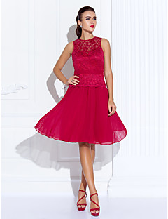 Homecoming Cocktail Party/Homecoming/Holiday Dress - Ruby Plus Sizes A-line Jewel Knee-length Chiffon/Lace
