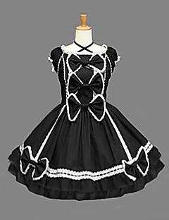 Mangas na altura do joelho preta de algodão Aristocrat Vestido Lolita