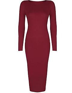 Women's Bodycon / Casual / Plus Sizes Solid Bodycon Dress , Deep U Midi Cotton