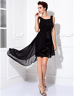 Homecoming Cocktail Party/Prom Dress Plus Sizes Sheath/Column Scoop Knee-length Chiffon/Stretch Satin