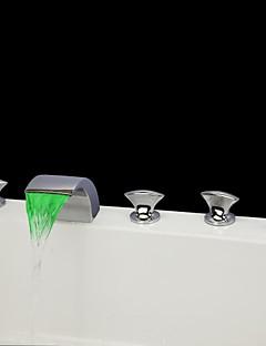 現代風 バスタブとシャワー LED / 滝状吐水タイプ / ハンドシャワーは含まれている with  セラミックバルブ 3つのハンドル5つの穴 for  クロム , 浴槽用水栓