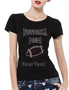 mangas curtas strass personalizado mãe camisetas de futebol padrão de algodão das mulheres