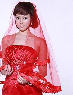 웨딩 면사포 한층 팔꿈치 베일 / 장식된 베일 59.06 in (150cm) 오르간자 레드