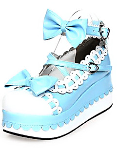 PU Leather 7CM  Platform Sweet Lolita Shoes with Row
