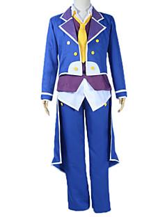 Inspirado por No Game No Life Sora Anime Fantasias de Cosplay Ternos de Cosplay Patchwork Azul Manga CompridaCasaco / Colete / Camisa /