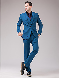 Suits Slim Fit Slim Notch Single Breasted One-button 3 Pieces Blue Straight Flapped
