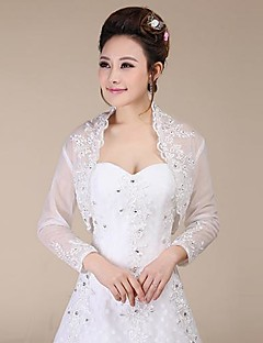 Wedding  Wraps Coats/Jackets Long Sleeve Lace Ivory Wedding / Party/Evening Sequin Open Front