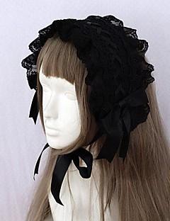 svart bånd og blonder trim gotisk lolita hodebånd