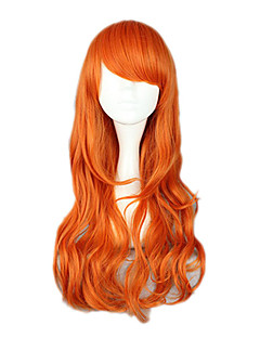 Cosplay Wigs One Piece Nami Orange Medium Anime Cosplay Wigs 65 CM Heat Resistant Fiber Female