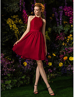 Homecoming Knee-length Chiffon/Lace Bridesmaid Dress - Burgundy A-line Jewel