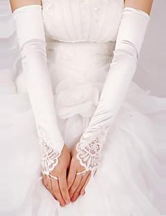 sateng fingerless opera lengde brude hansker med blonder (flere farger)