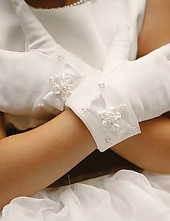 כפפת סאטן הכפפה של ילד הילדה פרח אורך פרק כף יד