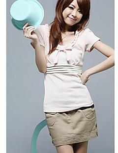 zoete strik versierd streep korte mouwen t-shirt roze