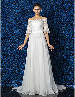 Lanting Bride A-line / Princess Petite / Plus Sizes Wedding Dress-Court Train Bateau Lace / Tulle