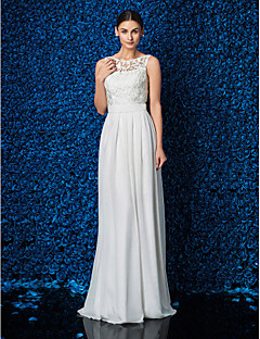 LAN TING BRIDE Sheath / Column Wedding Dress - Chic & Modern Simply Sublime Floor-length Jewel Chiffon Lace with Lace Sash / Ribbon