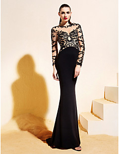 TS Couture Formal Evening Dress - Black Trumpet/Mermaid Bateau Sweep/Brush Train Jersey