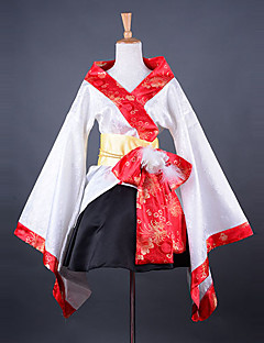 мода кимоно стиль длинный рукав длиной до колен белого атласа ва Лолита снаряжение