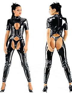 Seductive Black PU Leather Halloween Female Sexy Uniforms