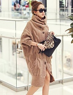 Women's Long Cloak / Capes,Solid Red / Brown Long Sleeve Polyester Spring / Fall / Winter Medium Micro-elastic