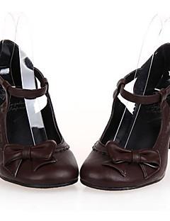 PU läder 6.5cm hög klack Gothic lolita skor med rad